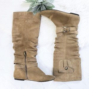 BCBG Bianco Tan Suede Leather Flat Knee High Boots